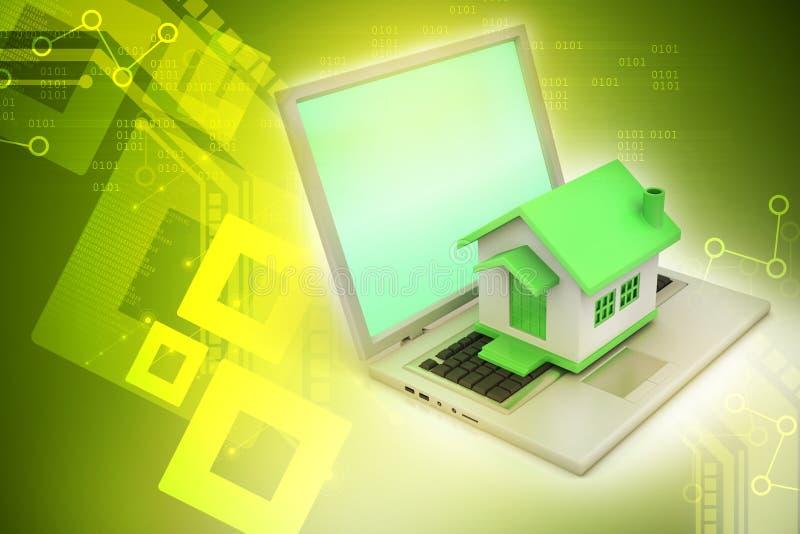 Huismodel op laptop stock illustratie