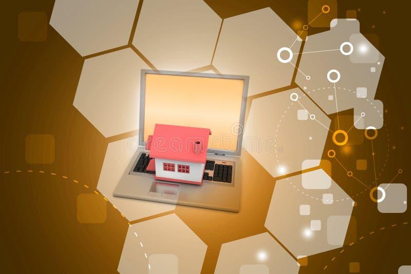Huismodel op laptop royalty-vrije illustratie