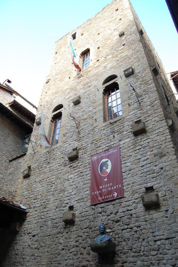 Huismuseum van de grote Italiaanse dichter Dante in Florence stock afbeelding