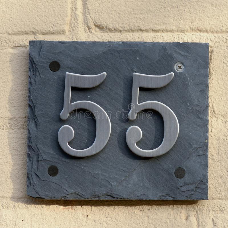 Huisnummer 55 royalty-vrije stock foto