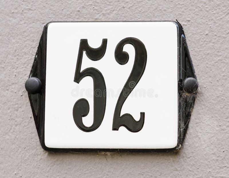 Huisnummer 52 royalty-vrije stock fotografie