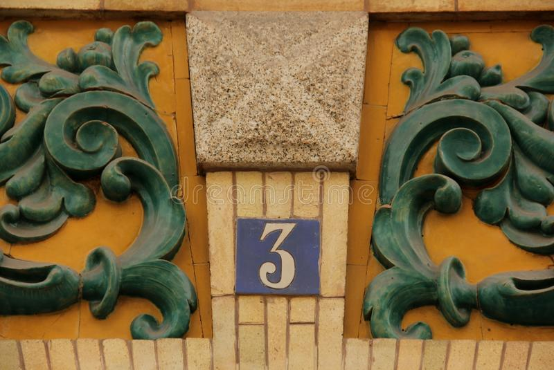 Huisnummer 3 royalty-vrije stock foto
