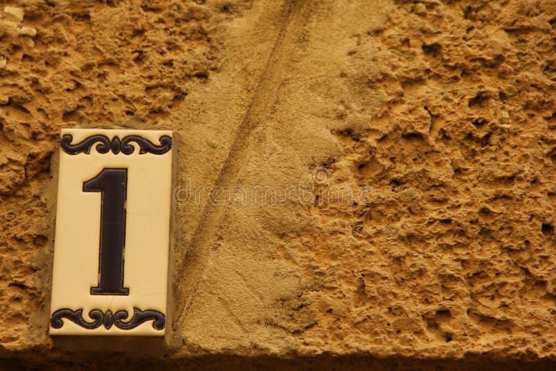 Huisnummer 1 stock afbeelding