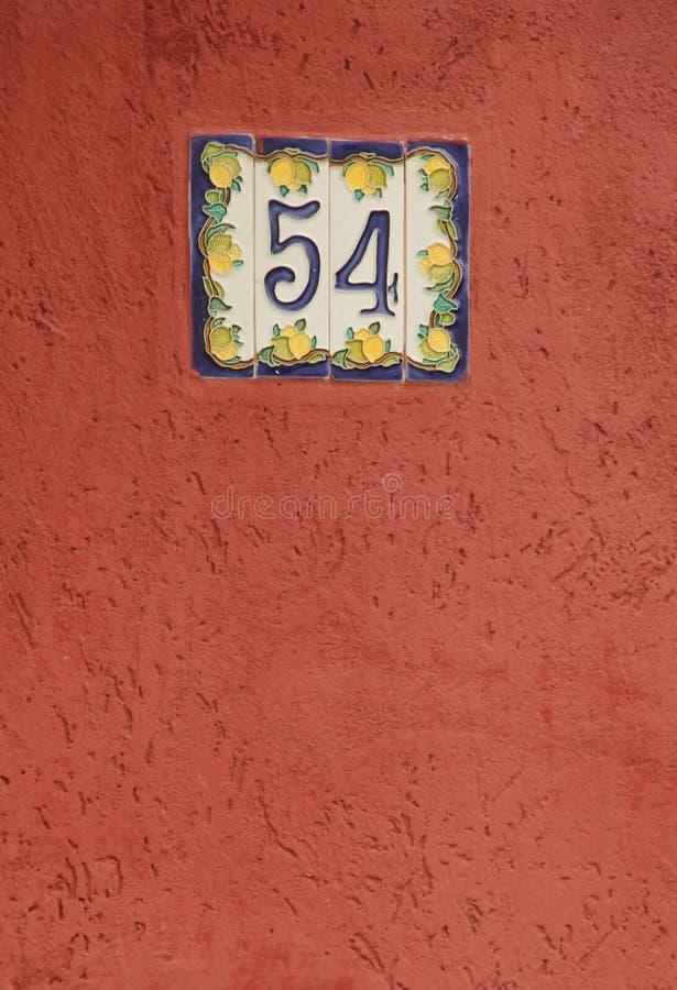 Huisnummer 54 stock foto