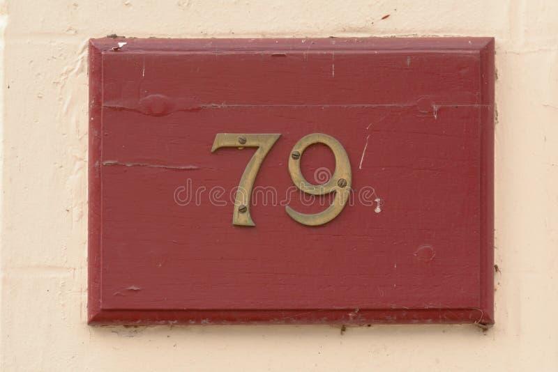 Huisnummer 79 teken royalty-vrije stock foto