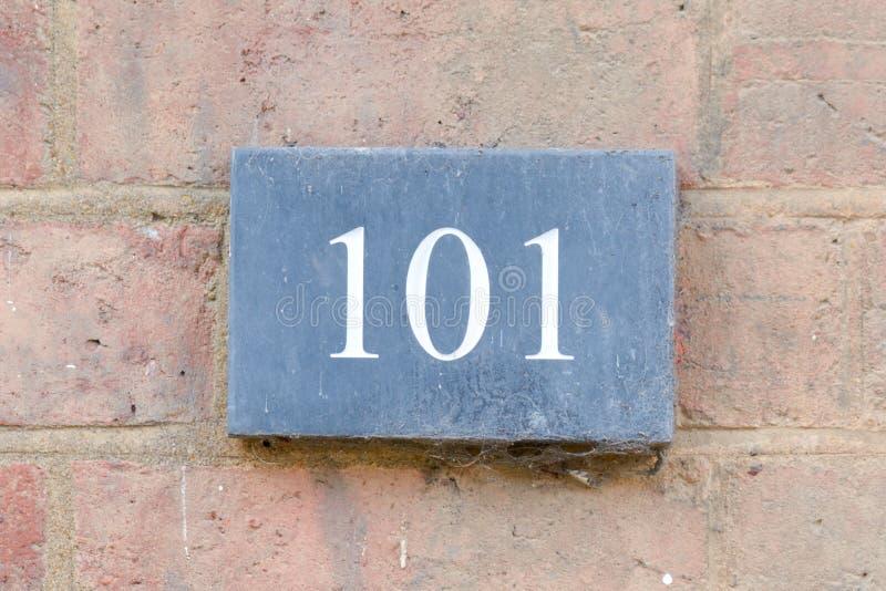 Huisnummer 101 teken royalty-vrije stock foto
