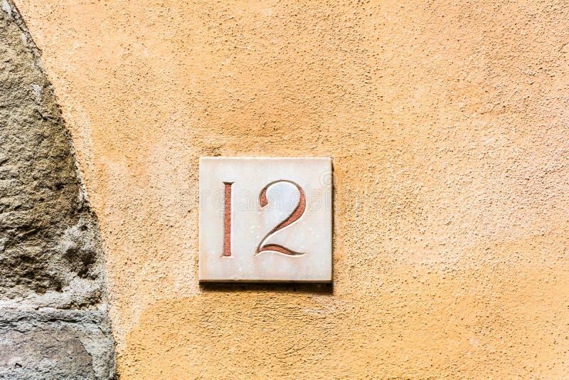 Huisnummer twaalf 12 royalty-vrije stock afbeelding