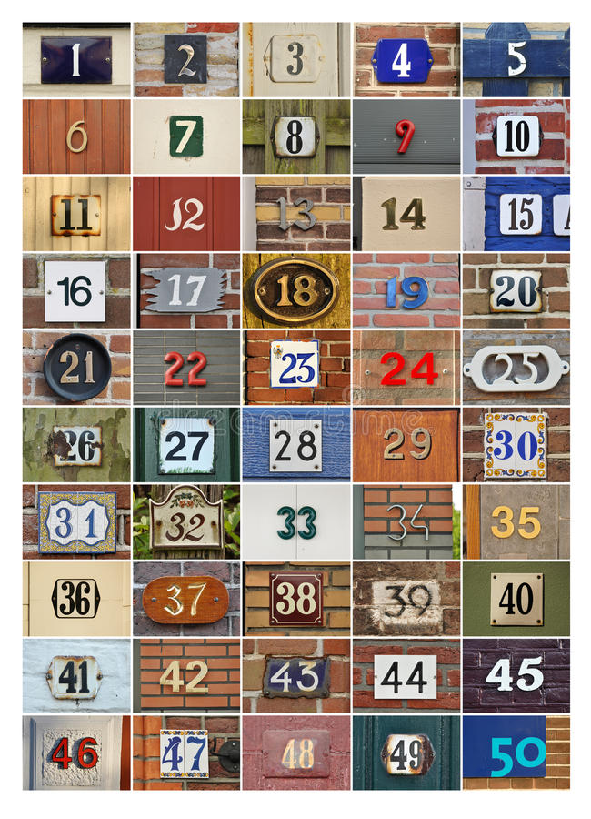 Huisnummers stock afbeeldingen