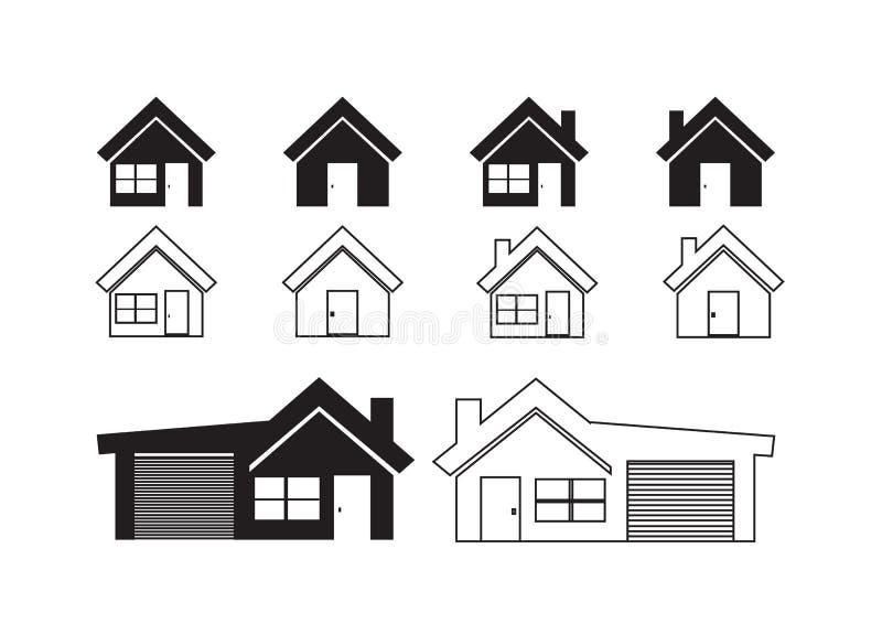 Huispictogram en Onroerende goederenconcept vector illustratie