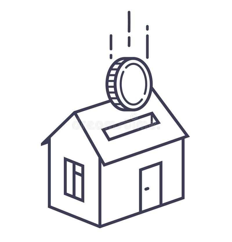 Huispictogram met een groef zoals een spaarvarken met een muntstuk dat in het valt stock illustratie
