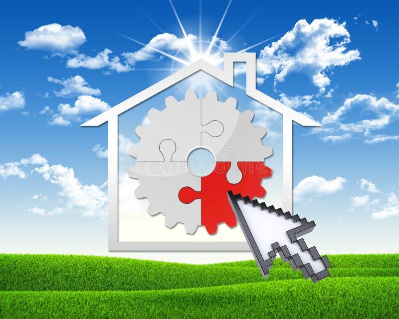 Huispictogram met toestel van raadsels stock illustratie