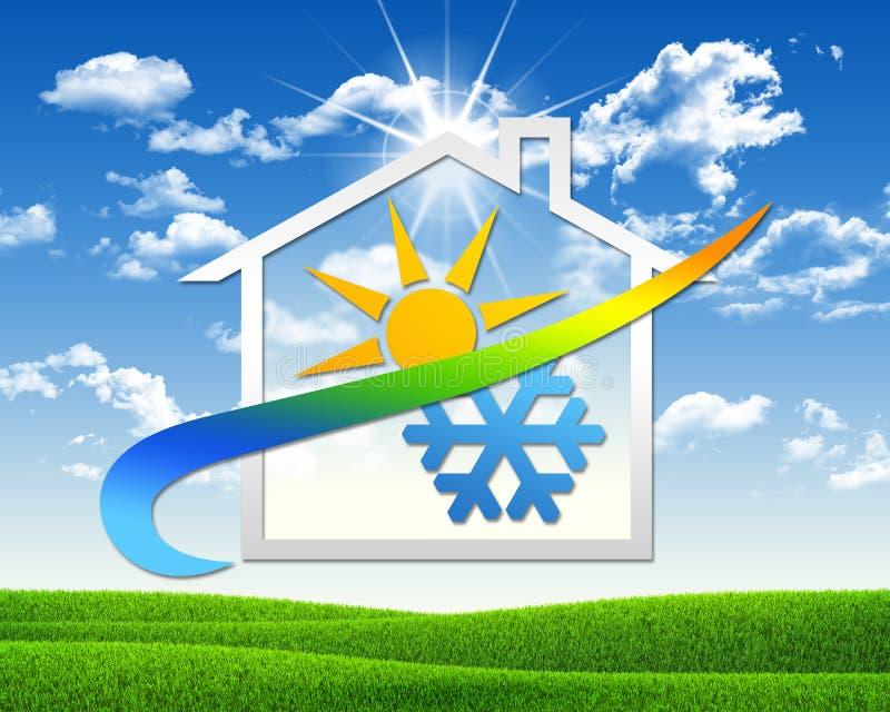 Huispictogram met weersymbool stock illustratie