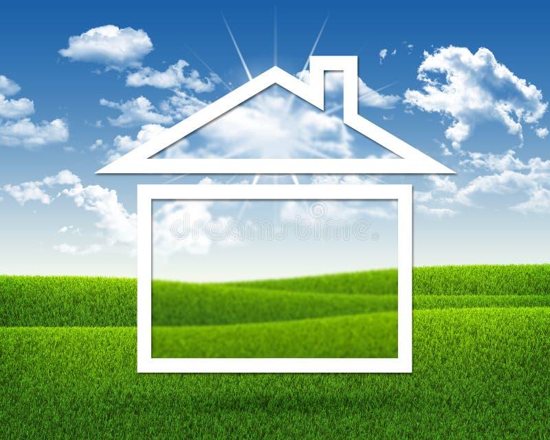 Huispictogram op achtergrond van groen gras en blauw stock fotografie