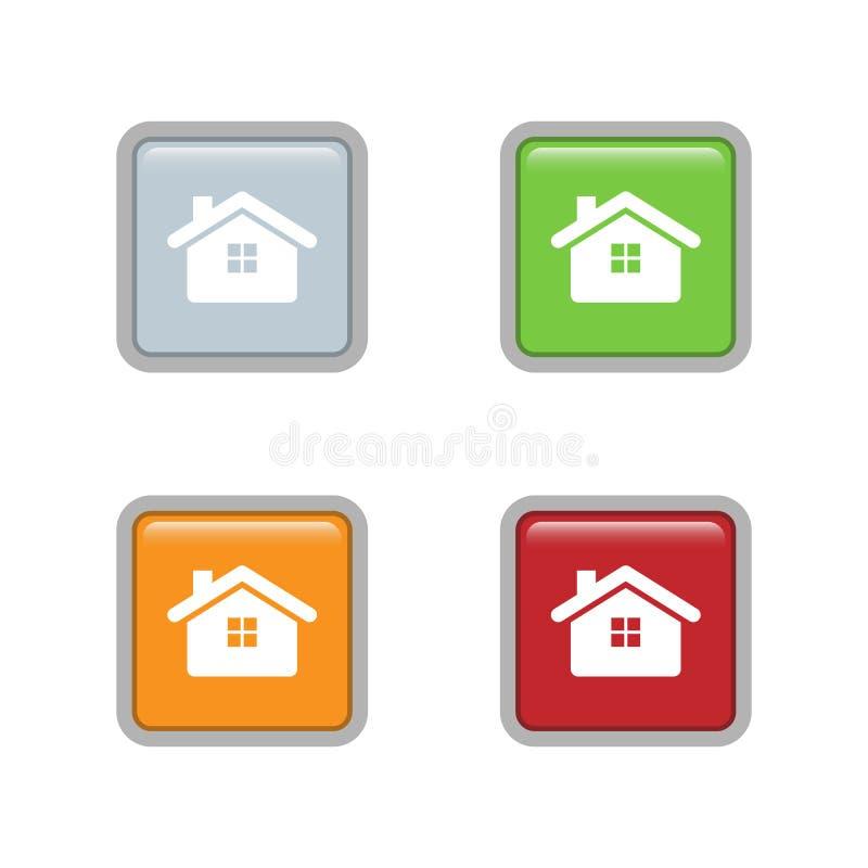 Huispictogram op Vierkante kleurrijke knoopvector die wordt geplaatst royalty-vrije illustratie
