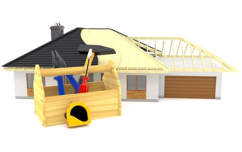 Huisplan met hulpmiddelvakje stock illustratie