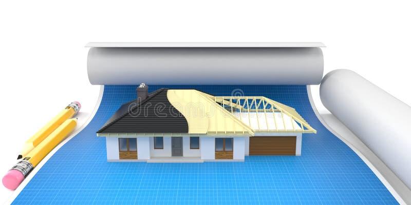 Huisplan op blauwdruk vector illustratie