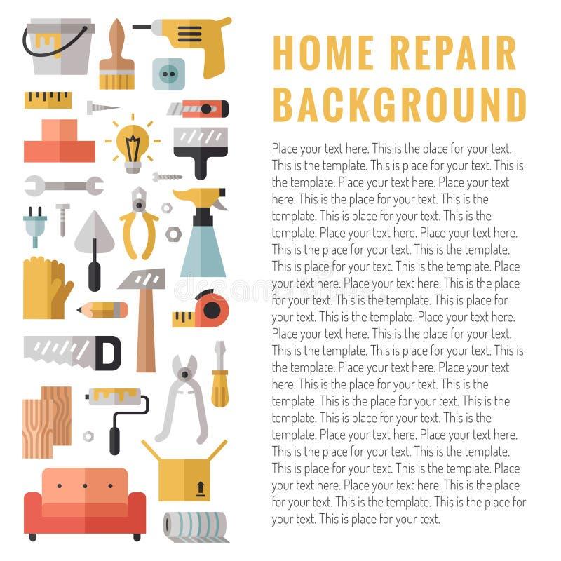 Huisreparatie en bouw multicolored vlakke verticale vectorachtergrond met plaats voor uw tekst modern minimalistic ontwerp vector illustratie
