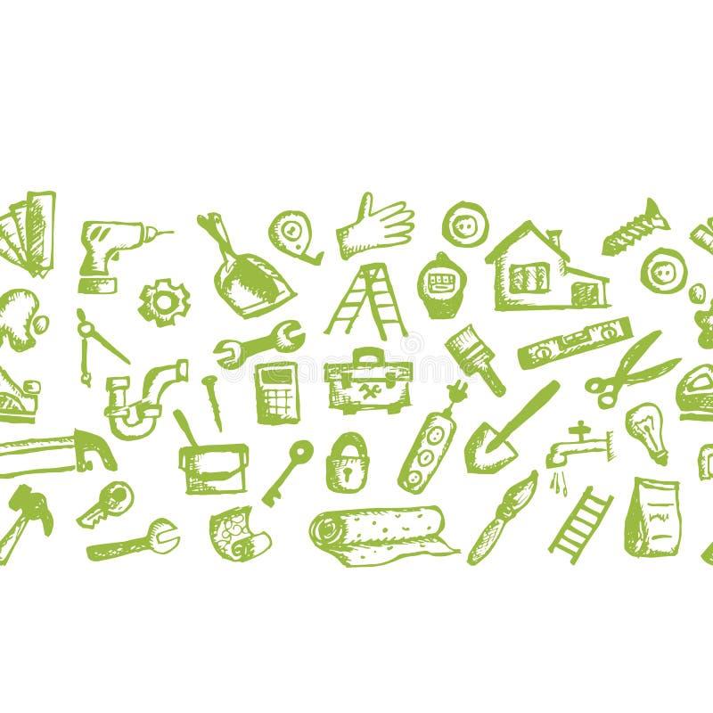 Huisreparatie, naadloos patroon voor uw ontwerp vector illustratie