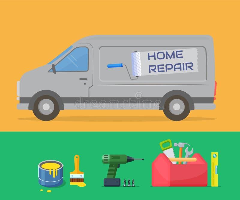 Huisreparatie Ontwerpmalplaatje voor de reparatiedienst Bestelwagen en hulpmiddelen stock illustratie