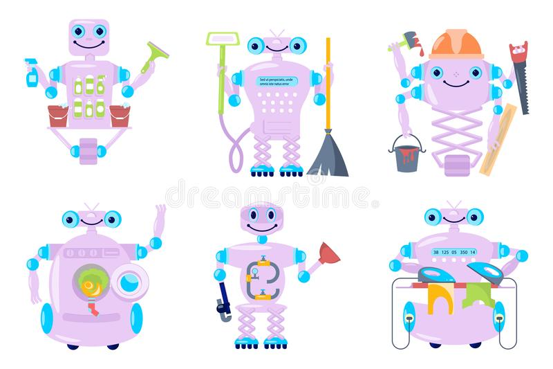 Huisrobot voor de schoonmakende dienst vector illustratie