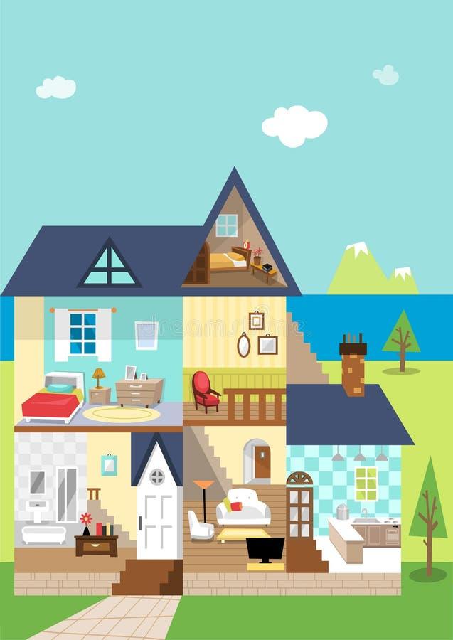 Huisschema en decoratie in de dag royalty-vrije illustratie