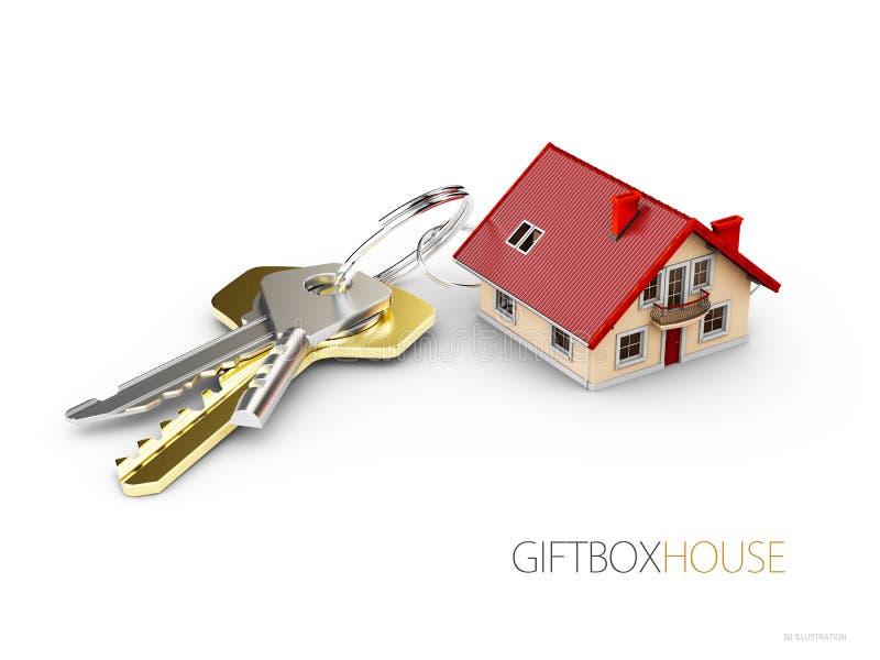 Huissleutel en keychain in de vorm van huis Concept voor onroerende goederen, 3d Illustratie stock illustratie