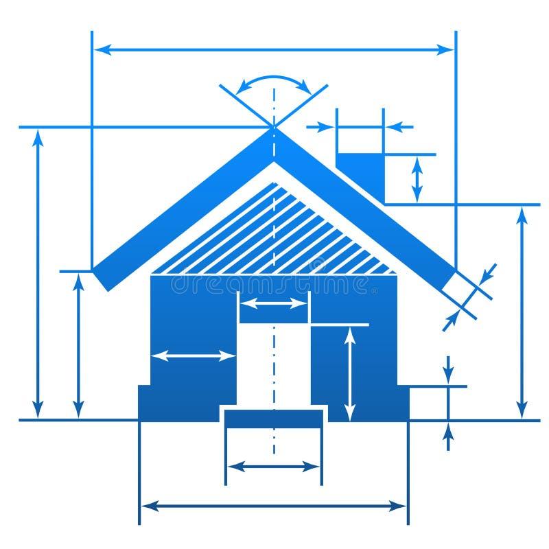 Huissymbool met afmetingslijnen vector illustratie