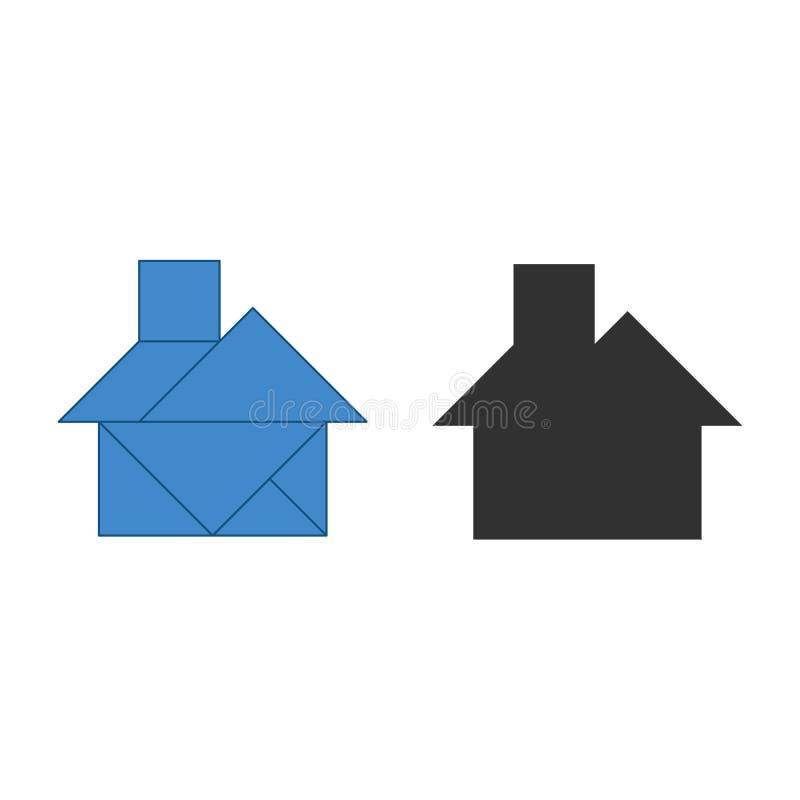 Huistangram Traditioneel Chinees ontledingsraadsel, zeven het betegelen stukken - geometrische vormen: driehoeken, vierkante ruit vector illustratie
