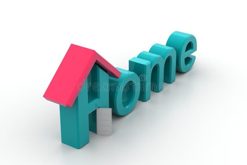Huistekst met dak vector illustratie