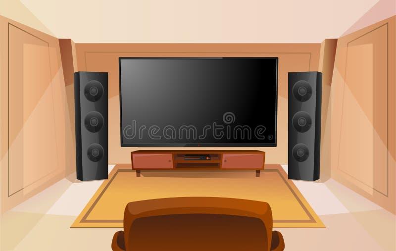 Huistheater in beeldverhaalstijl met grote TV Zaal met bank Modern binnenland Akoestisch Stereogeluid royalty-vrije illustratie