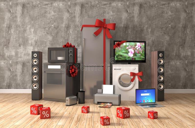 Huistoestel met linten en kortingen in binnenland 3d illust stock illustratie