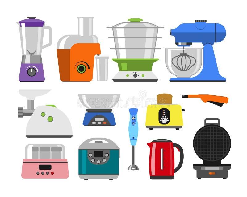 Huistoestellen die het materiaal van het keukenhuis en vlak stijlhuishouden koken die vastgestelde het malplaatjetechnologie koke royalty-vrije illustratie