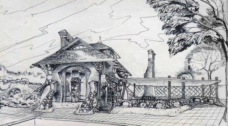 Huistovenaar of een leuke reuzehagrid (tuinhuis) royalty-vrije stock fotografie