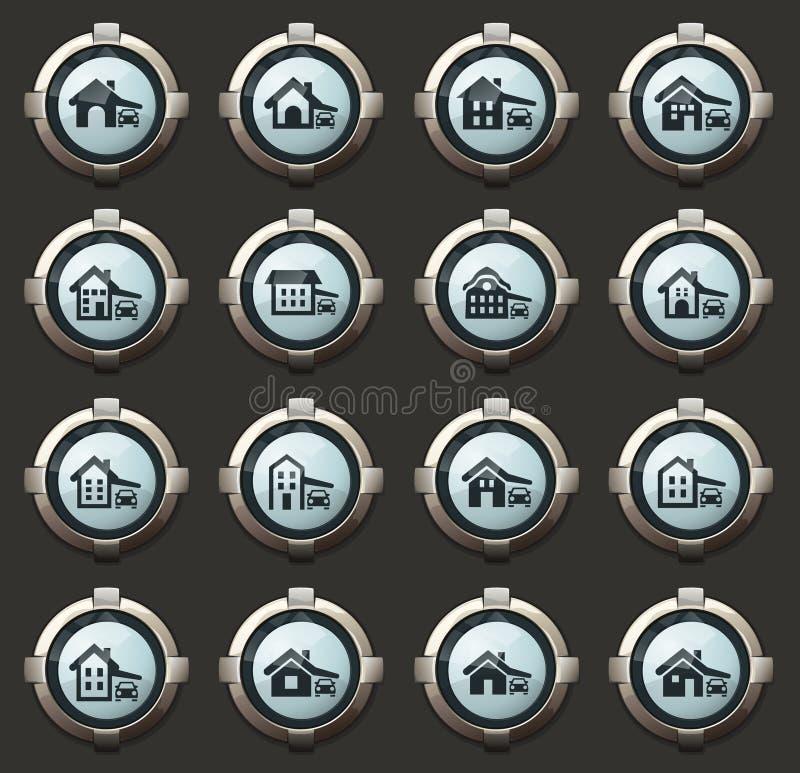 huistype geplaatste pictogrammen stock illustratie