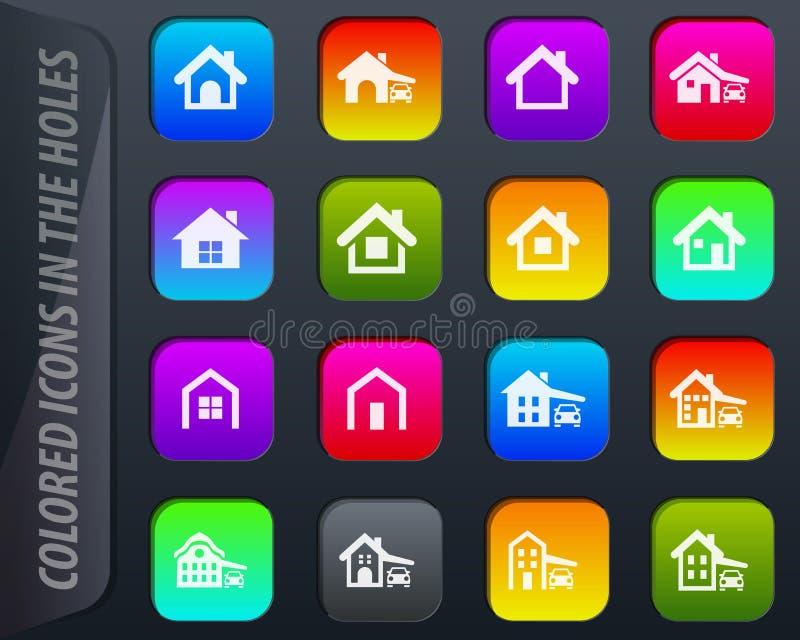 huistype geplaatste pictogrammen vector illustratie
