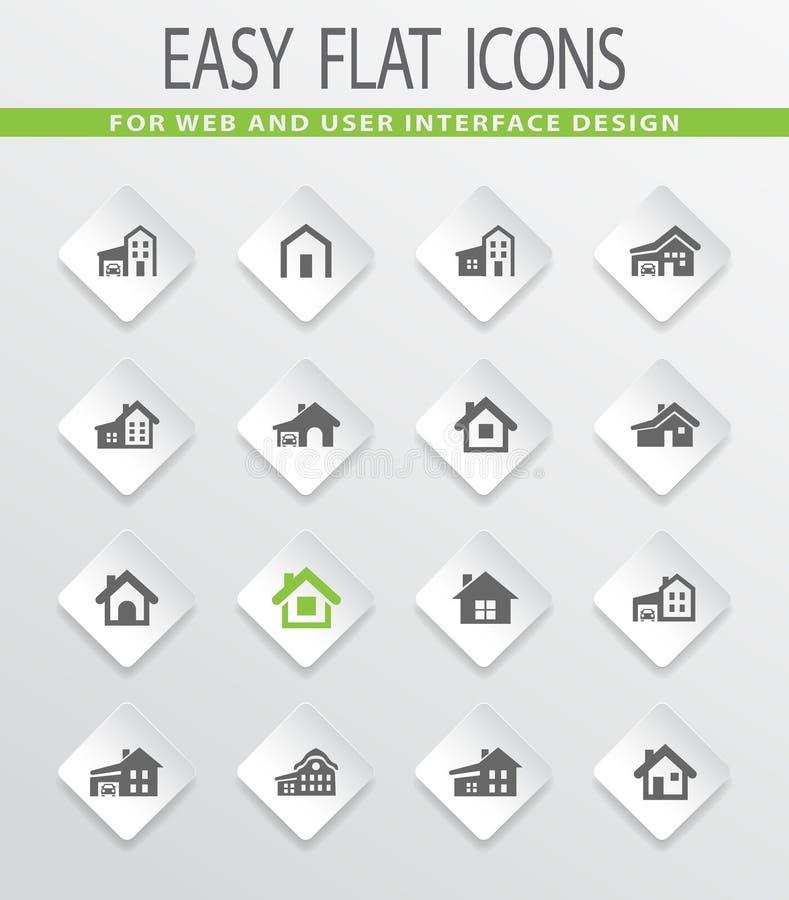 Huistype pictogramreeks stock illustratie