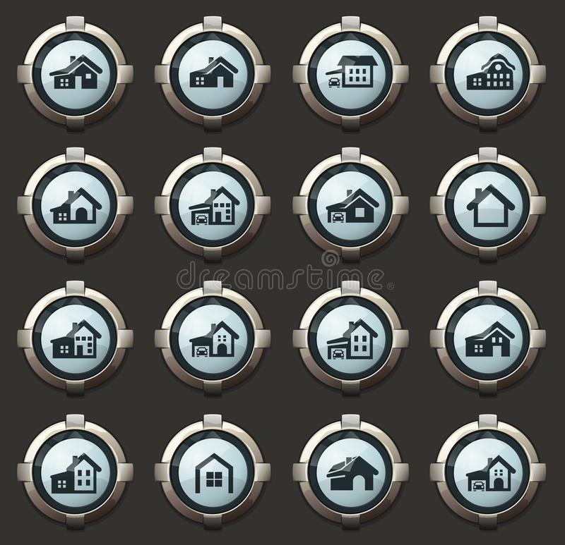 Huistype pictogramreeks vector illustratie