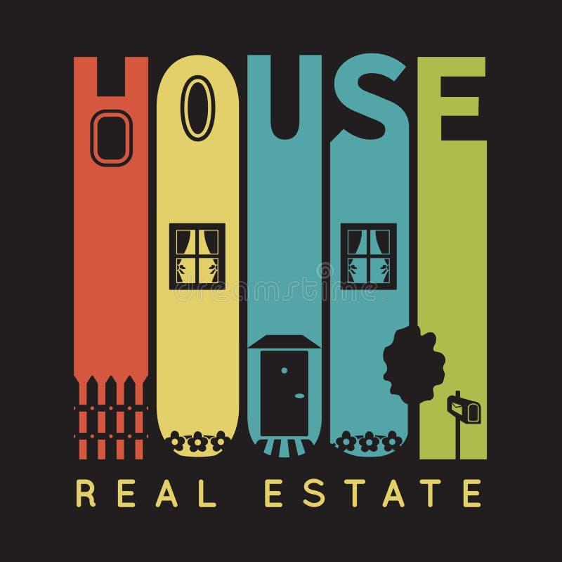 Huistypografie met architectuurpictogrammen, t-shirt stock illustratie