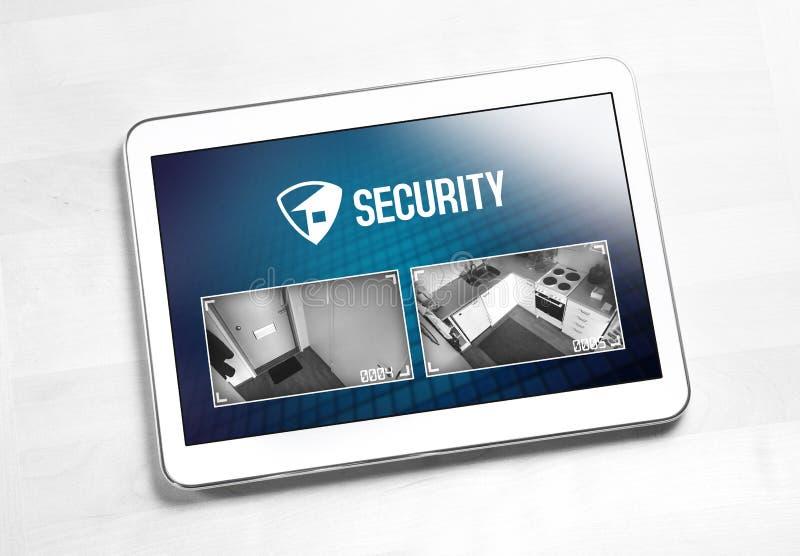 Huisveiligheidssysteem en toepassing in tablet stock afbeeldingen