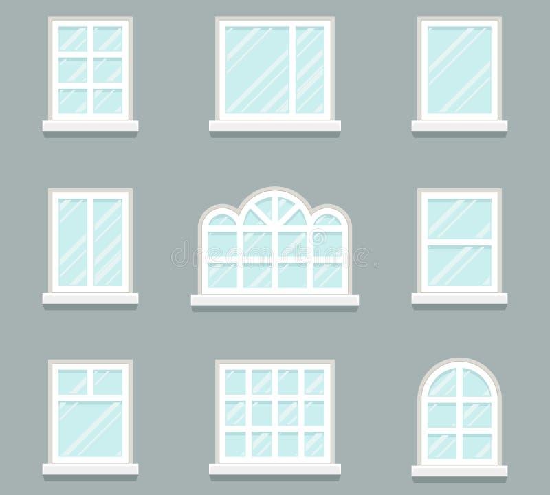 Huisvensters die glaspictogrammen geplaatst vlak ontwerpmalplaatje vectorillustratie bouwen stock illustratie