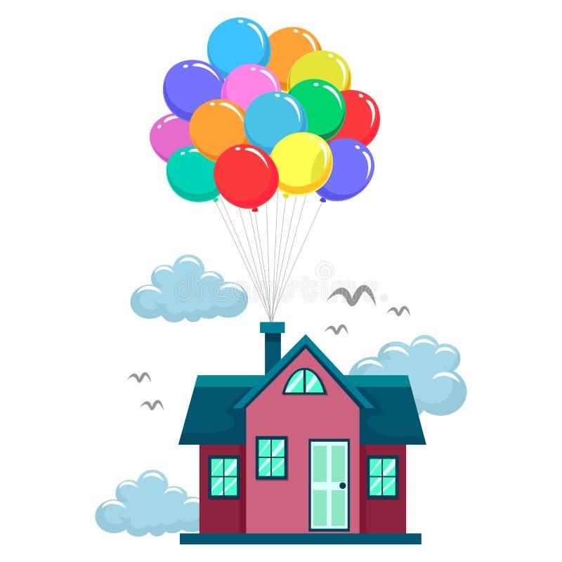 Huisvlieg door Kleurrijke Ballons vector illustratie