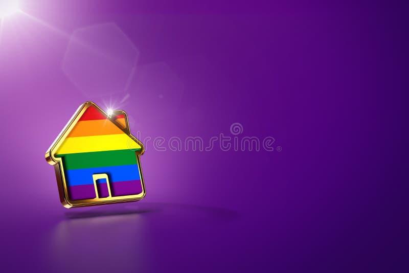 Huisvorm met vrolijke trotsregenboog op purpere achtergrond, exemplaarruimte Vrolijke mensen net om samen te leven concept 3d vector illustratie