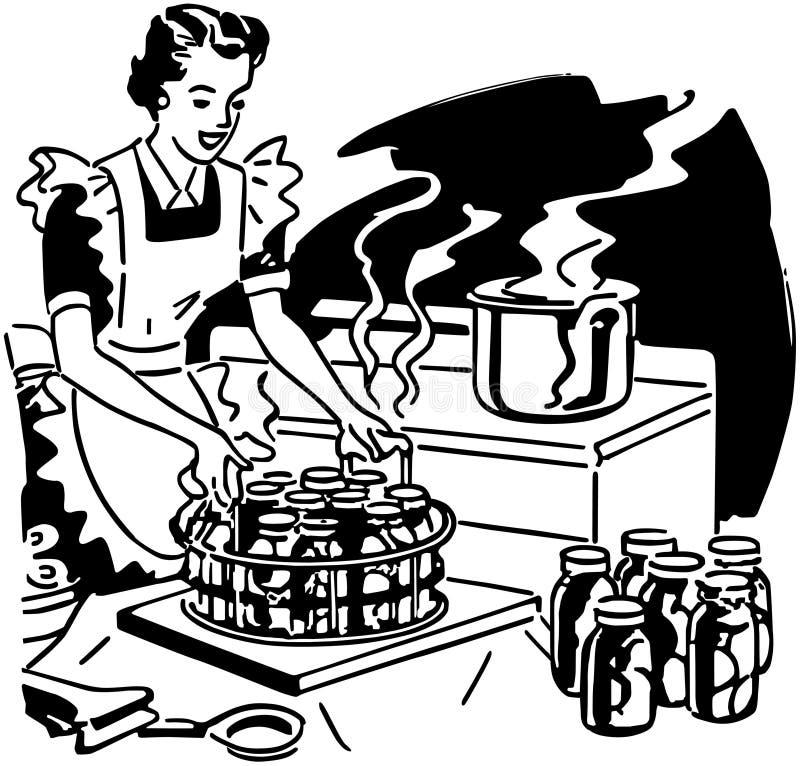 Huisvrouw Canning Fruit stock illustratie