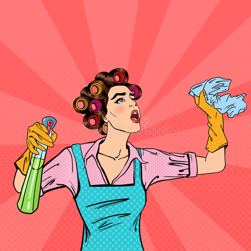 Huisvrouw Cleaning het Huis met Nevel en Vod Pop-art Vector stock illustratie