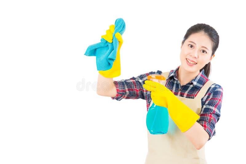 Huisvrouw die gebruikend het vod en de nevel schoonmaken stock foto's