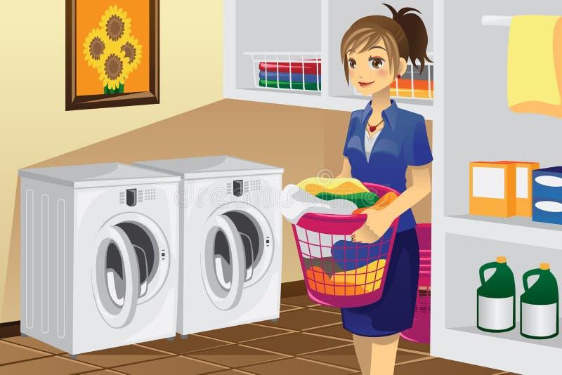 Huisvrouw die wasserij doet stock illustratie