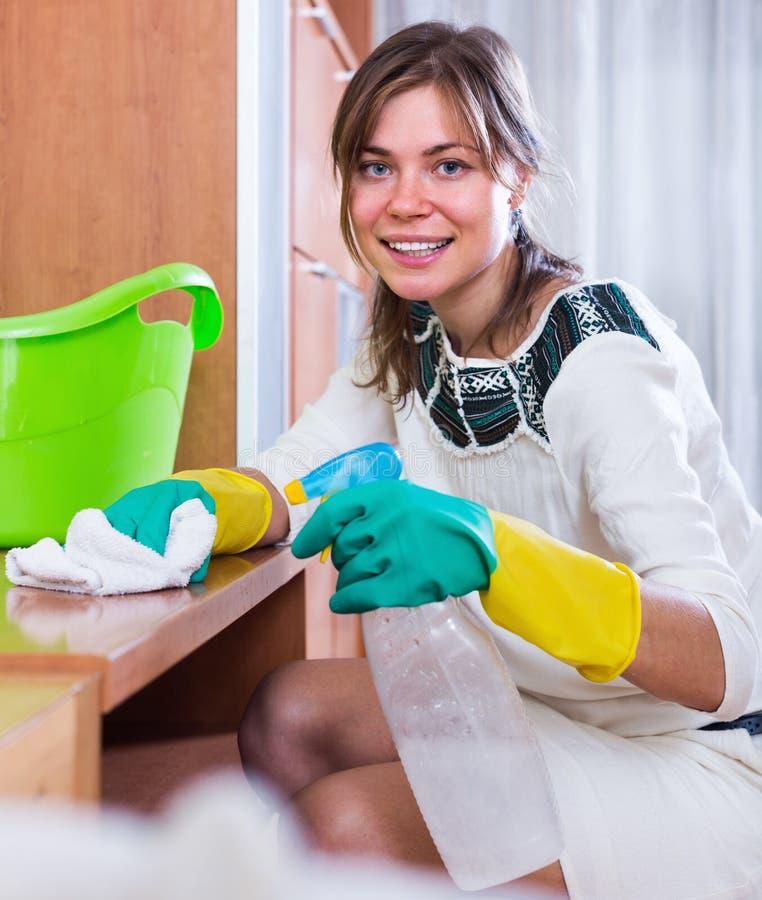 Huisvrouw het schoonmaken het opschorten van het bestrooien royalty-vrije stock foto's