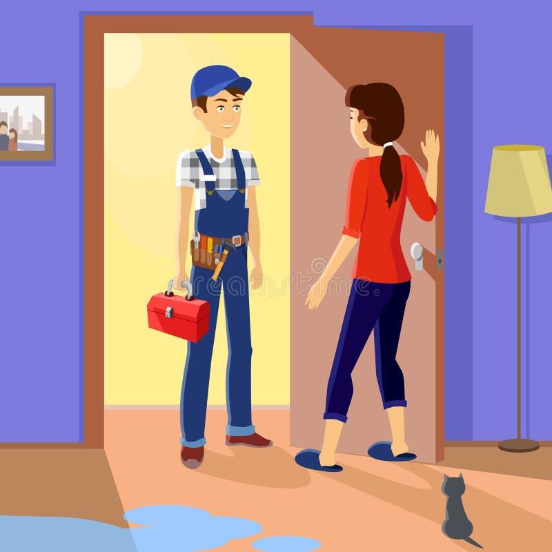 Huisvrouw Meets Master Repairman vector illustratie