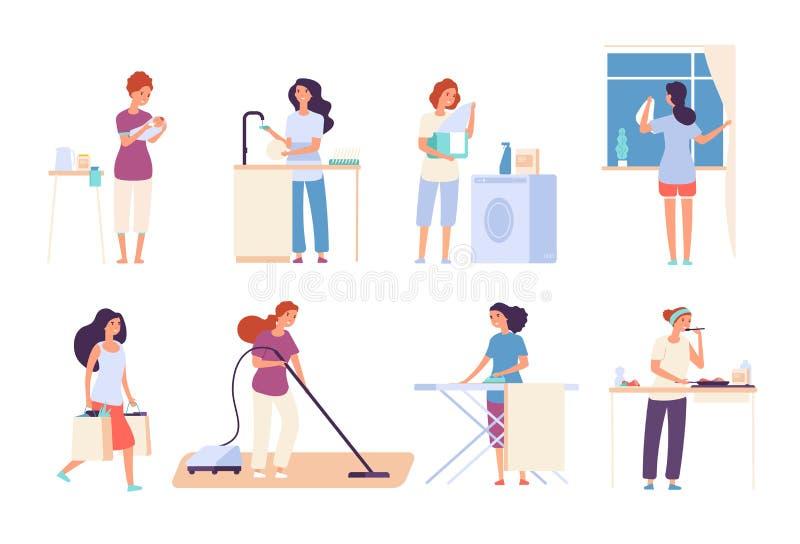 huisvrouwen Vrouwenhuisvrouw die huishoudelijk werk, gelukkige moederkoks in keuken doen, strijkend en schoonmakend, het zuigen b vector illustratie