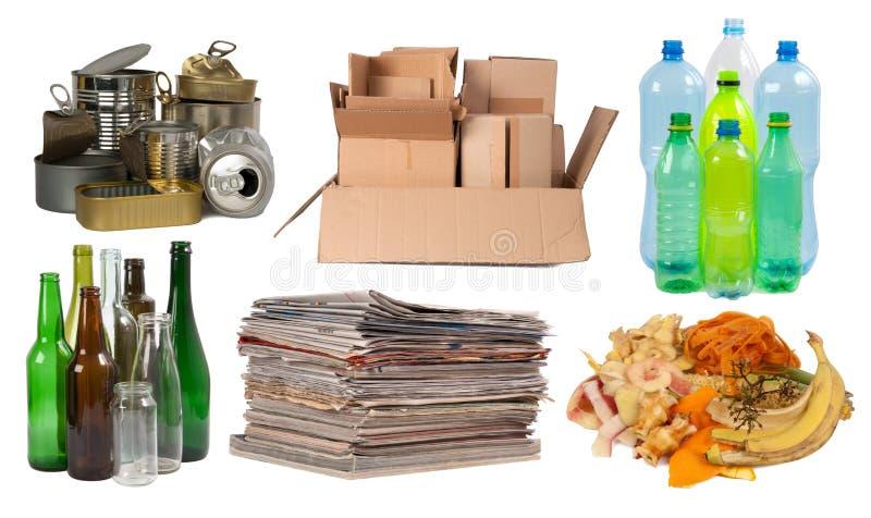 Huisvuil dat op recycling wordt voorbereid royalty-vrije stock afbeeldingen